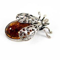 Vintage Sterling Silver and Amber Bee / Insect by PinkAstilbe, $85.00