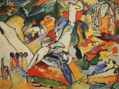 Painter Wassily Kandinsky. Painting. Study to Composition II. 1910