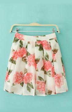 Floral Printing Pleating Hem Chiffon Skirt