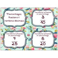 Cartes à tâches gratuite Pourcentages, fractions et nombres décimaux Fractions, Vice Versa, Tour Eiffel, Mathematics, Bullet Journal, Teaching, Logo, School, Cards