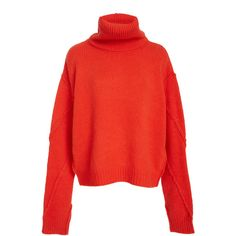 Eva Exaggerated Turtleneck Sweater | Moda Operandi (5.560 ARS) ❤ liked on Polyvore featuring tops, sweaters, red turtleneck top, red sweater, turtle neck top, turtleneck sweater and turtle neck sweater