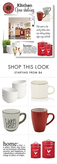 """""""Country kitchen...open shelving"""" by theworldisatourfeet ❤ liked on Polyvore featuring interior, interiors, interior design, home, home decor, interior decorating, CB2, Nicholas Newcomb, Sapota and Global Amici"""