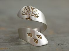 autumn in DaWanda Silver Rings – 925 Sterling hand stamped autumn ring – a unique product by VillaSorgenfrei on DaWanda