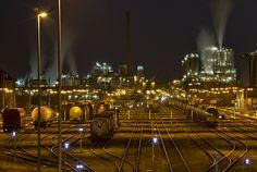 Güterbahnhof Godorf bei Nacht fotografieren