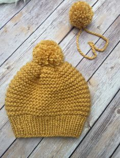 Child's / Toddler size Hat - Yellow - Fall - size T by SweetKnitsStudio on Etsy Knitting Stitches, Knitting Patterns Free, Baby Knitting, Motifs Beanie, Toe Warmers, Hat And Scarf Sets, Baby Hats, Knitted Hats, Beanies