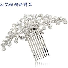 bc9b36d0 Fashion Wedding Bride Floral Flower Hair Comb Head Pieces w/ Clear  Rhinestone… Panna Młoda