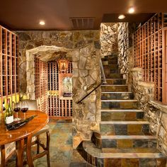 Gorgeous wine cellar-- would look great in a kitchen too
