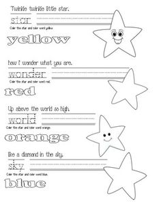 nursery rhymes, Twinkle Twinkle Little Star activities, free common core lessons for kindergarten, free common core lessons for 1st grade, Daily 5 activities, Daily 5 word work activities,