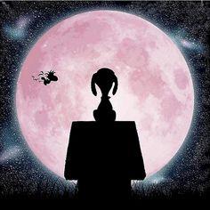 Snoopy, Woodstock flying across pink moon