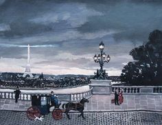 Michel Delacroix Fiacre Sur Le Pont Alexandre III Original Painting