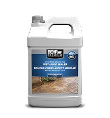 Video Overview BEHR PREMIUM® Wet-Look Sealer Beautify, protect and preserve the natural beauty of all your home's concrete & masonry surfaces with BEHR PREMIUM Concrete, Brick & Tile Wet-Look Sealer. This high-gloss formula can also be used on pavers, artificial stone and stucco, and it also makes a great topcoat over paints and stains.