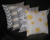 """Decorative Pillows grey Throw Pillows FOUR gray chevron, lulu stripe & dot, suzani, dandelion 18x18 inch gray 18"""" grey, yellow, white. $56.00, via Etsy."""