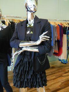 Hunter Dixon Ruffle Dress + Tart Chain Pocket Blazer