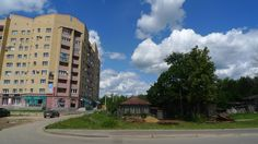 This small home, pinched between the main road (out of shot to the right) and the tower block, was characteristic of the urban planning of Vyksa Russia.
