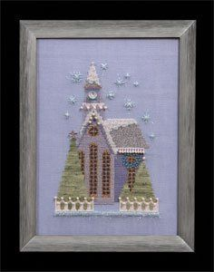 Nora Corbett Little Snowy Lavender Church - Cross Stitch Pattern. From the Snow Globe Village Series. Model stitched on 32 count Sea Spray Linen or 16 count Sea