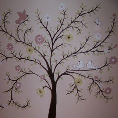 A pretty tree painted for a baby girl's room by Sillyjillydesigns