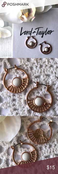 """Cutout Rose Gold Hoop Earrings Chic hoop earrings feature a fun, sunburst design. Done in a rose gold tone. Closes with a click back. Created by Lord & Taylor's Design Lab. Diameter is approximately 0.75"""". Lord & Taylor Jewelry Earrings"""