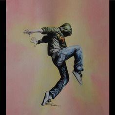 Jump... : dessin au crayon aquarellable sur fond acrylique 28 x 32