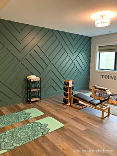 Modern geometric trim on accent wall - Luxury home tour -- part one! (And one of my favorites! Workout Room Home, Gym Room At Home, Home Gym Decor, Workout Room Decor, Workout Rooms, Yoga Room Decor, Home Gym Design, Home Interior Design, House Design