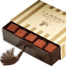 Gourmet Handmade Chocolates- L.A. Burdick's Luxury Pavé Glacé; block shaped chocolate cubes in an assortment of flavors.