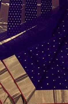 Discover thousands of images about Blue_Handloom_Chanderi_Cotton_Silk_Saree Kora Silk Sarees, Silk Saree Kanchipuram, Chanderi Silk Saree, Organza Saree, Chiffon Saree, Pattu Saree Blouse Designs, Half Saree Designs, Bridal Silk Saree, Saree Wedding