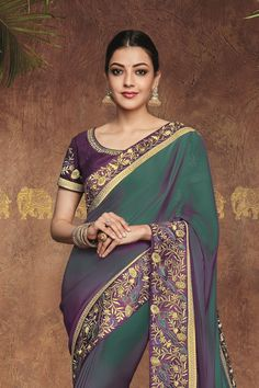 Sarees Online: Shop the latest Indian Sarees at the best price online shopping. From classic to contemporary, daily wear to party wear saree, Cbazaar has saree for every occasion. Half Saree Lehenga, Saree Look, Sari, Latest Indian Saree, Indian Sarees Online, Kajal Agarwal Saree, Churidar Suits, Salwar Kameez, Beautiful Heroine