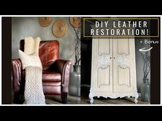 2 Transformations DIY Restauration de chaise en cuir et Armoire d'inspiration anthropologique - YouTube Armoire Makeover, Furniture Makeover, Diy Leather Restoration, French Armoire, Leather Dye, Recycled Furniture, Furniture Making, Chalk Paint, Woodworking