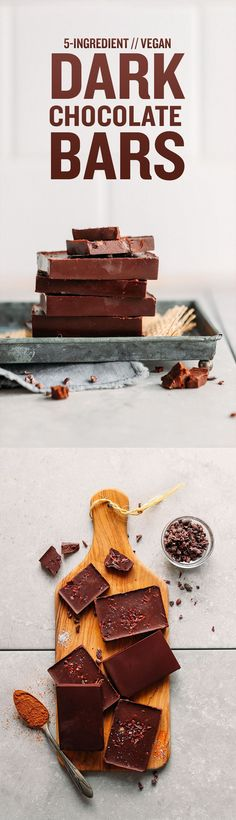 A healthy, easy five-ingredient recipe for homemade dark chocolate—it's naturally sweetened with maple syrup, and made with cocoa butter and cacao powder. Brownie Desserts, Oreo Dessert, Mini Desserts, Coconut Dessert, Dessert Healthy, Healthy Snacks, Dark Chocolate Recipes, Vegan Dark Chocolate, Chocolate Flavors