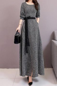 Name Fashion long sleeves ? Long style Shown thin Frenulum knitted Maxi dress? Brand Wearequeen SKU Type Maxi Dresses Style Sexy Fashion Elegant Occasion Casual Vacation Material Polyester Decoration Pure Color Please Note: All dime Dress Outfits, Fashion Dresses, Maxi Dresses, Long Dresses, Long Winter Dresses, Formal Outfits, Sweater Dresses, Dress Long, Winter Outfits
