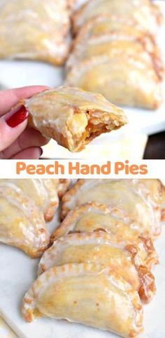 Peach Hand Pies Peach Hand Pies - The flaky crust and spicy cinnamon filling are the perfect combo in a hand pie, plus they're baked not fried! Köstliche Desserts, Delicious Desserts, Dessert Recipes, Yummy Food, Pie Dessert, Plated Desserts, Pie Recipes, Baking Recipes, Easy Recipes