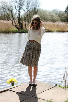 lovely print midi skirt.
