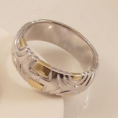 Ladies Silver and Gold Design ~ Two Tone Gold Overlay Ring Size 11 Free Gift Box