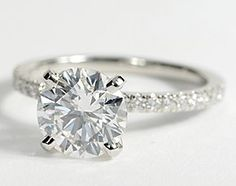 Petite Pavé Diamond Engagement Ring in Platinum #BlueNile