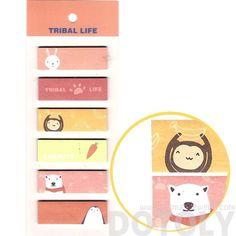 Monkey Polar Bear Bunny Penguin Animal Themed Rectangular Sticky Memo Post-it Note Tabs
