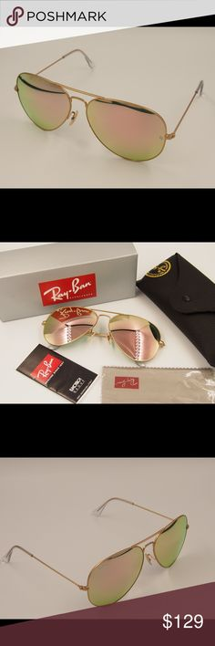 Ray ban aviators rose gold sunglasses Ray ban aviators 3025 rose gold sunglasses Brand new no scratches Return acceptable  100% really and you can check the letters carved on the glasses. Fast shipping Ray-Ban Accessories Sunglasses
