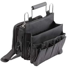 On-the-go tote bag has room for all your salon goodies. Expandable pockets hold hair brushes, hair spray, curling irons, mirrors, clips - you name it! Durable nylon, cushion handle, special zipper case for scissors, also features detachable shoulder strap.