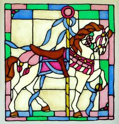 Carousel horse window cling stained glass look by barbaranovak, $25.00
