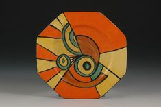 clarice cliff SLICED CIRCLE OCTAGONAL SIDEPLATE C.1929