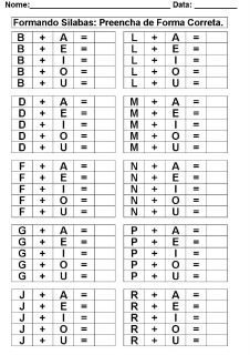Sílabas – EDUCAR: Fazer a Diferença. Kids Math Worksheets, Alphabet Worksheets, Alphabet Tracing, Preschool Learning, Learning Activities, Letter L, Reading Intervention, Letter Recognition, Teaching Spanish