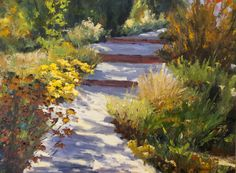 Kit Hevron Mahoney Fine Art: KM2863 Enchanted Path by Denver, Colorado artist Kit Hevron Mahoney (30x40 oil landscape)