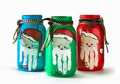 Christmas Santa Jars with your child's handprint! Cute grandparent gift- fill the jar with something special