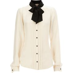 Luxe Tuxedo Blouse ($56) ❤ liked on Polyvore featuring tops, blouses, shirts, blusas, women, silk blouses, button blouse, cream silk blouse, cream blouse and tie shirt