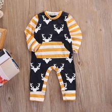 Pasgeboren Peuter Baby Jongens Kleding Herten Lange Mouw Rompertjes Katoenen Gestreepte Jumpsuit Baby Boy Outfits Herfst Kleding(China)