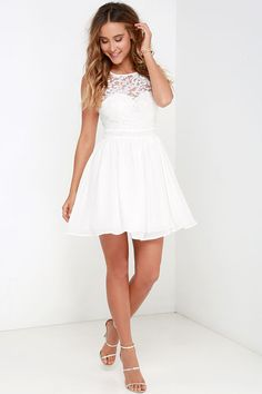 Rehearsal dinner dress!  Truth and Fiction Ivory Lace Skater Dress at Lulus.com!