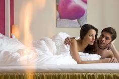 Honeymoon-Suite mit Pärchen im Himmelbett Hotel Alpen, Spa, Room, Environment, Four Poster Bed, Bedroom, Rooms, Rum, Peace