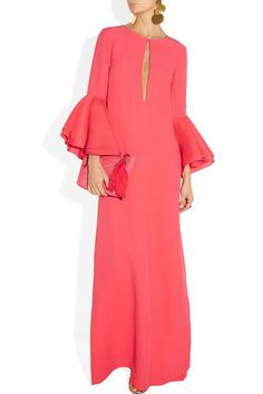 Coral silk-cady Button-fastening keyhole front, flared and layered silk-broadcloth sleeves, back split, fully lined Concealed hook and zip fastening along back 100% silk; lining: 96% silk, 4% elastane Dry clean Designer color: Begonia Pink