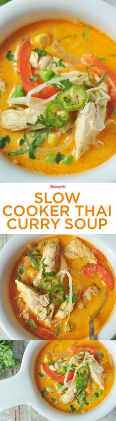 This Slow Cooker Thai Curry Soup is a dream come true! Prep is ridiculously easy and you won't believe there is zero cream added! :)