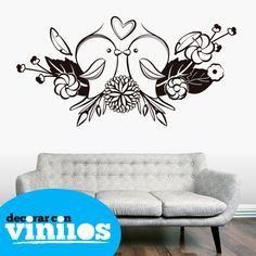 Vinilos Decorativos - Pajaritos enamorados - Vinilos de flores