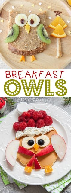 Cute Owl Breakfast For Christmas Morning | Over 15 fun, cute and easy Christmas breakfast ideas for kids! These creative recipes are so simple and easy to make, but are sure to make Christmas morning extra special. Everything from pancakes to toast and oatmeal! Listotic.com