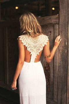 crochet lace back detail boho wedding dress
